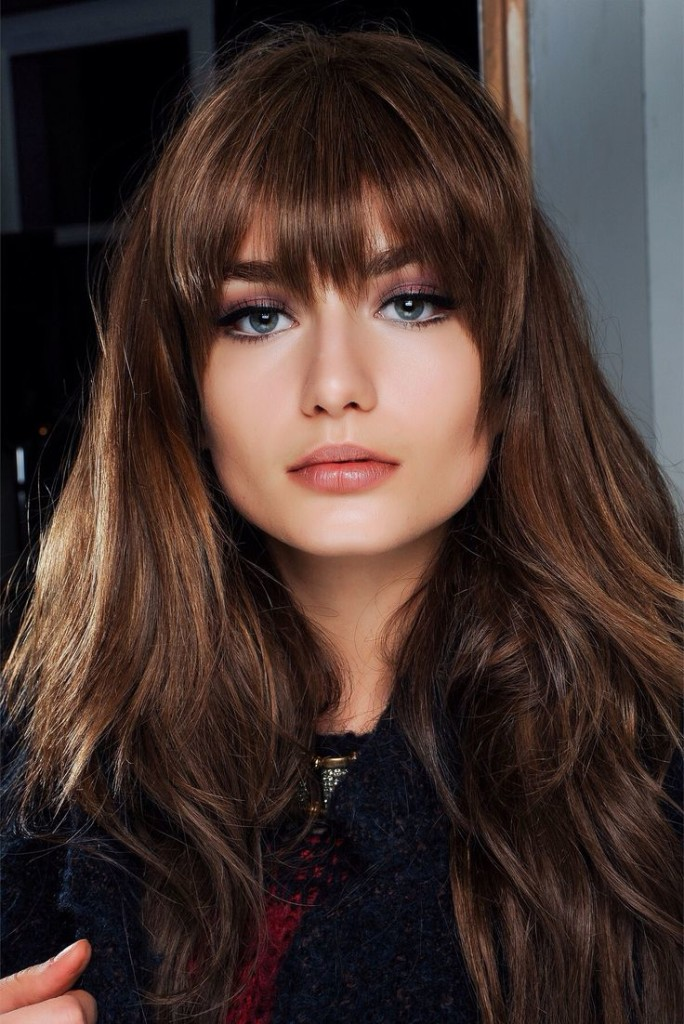 brunette hairstyles with bangs photo - 35
