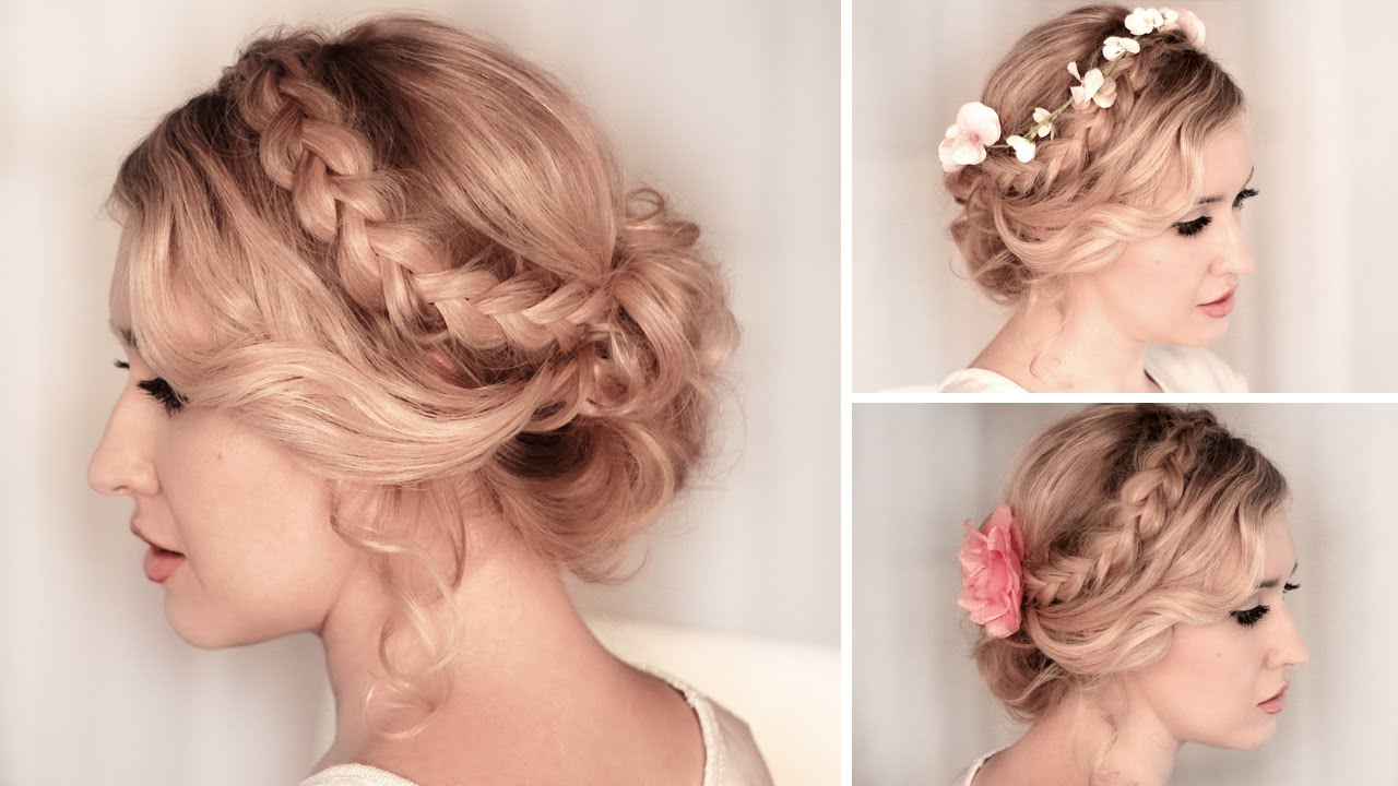 идея прически на средние волосы на свадьбу