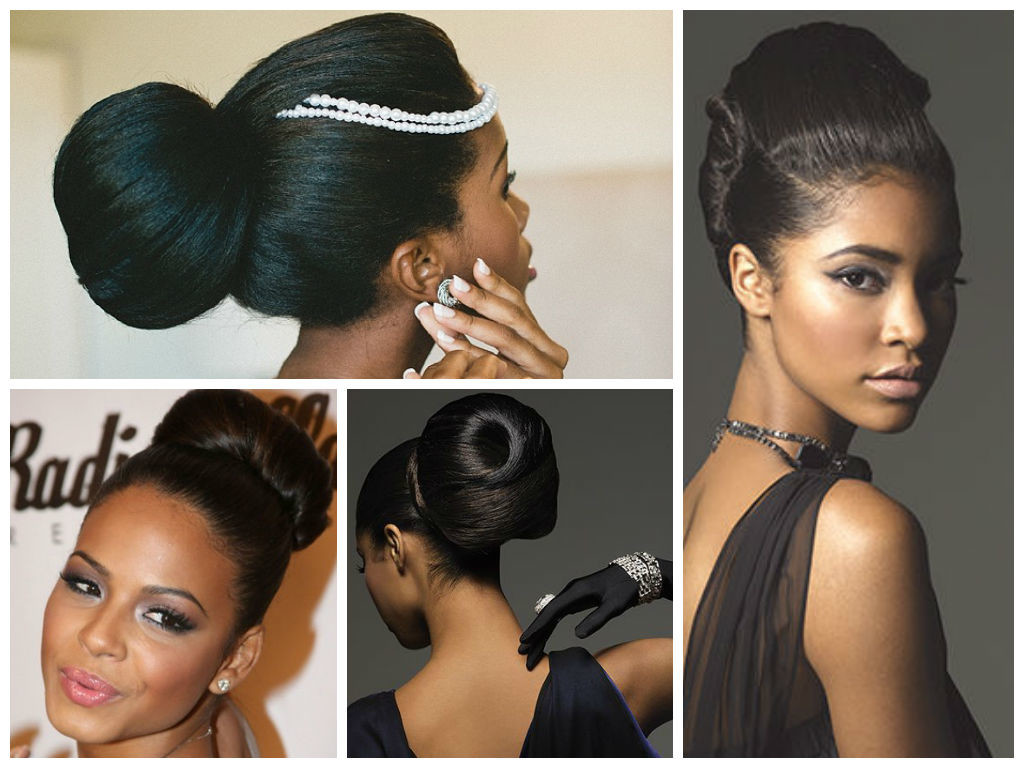 high bun hairstyles with bangs - 11