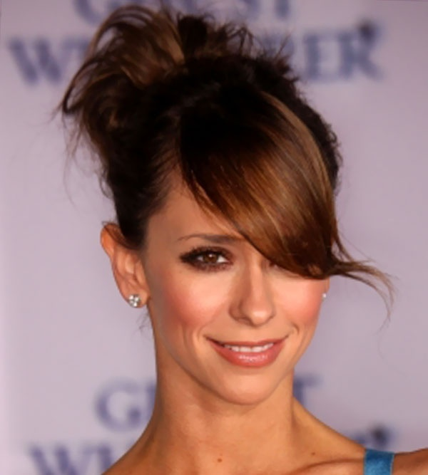high bun hairstyles with bangs - 9