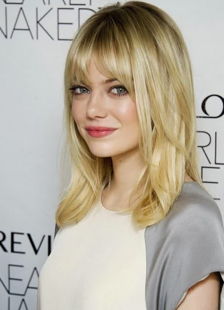 Top 20 medium length hairstyles with bangs for round faces ...