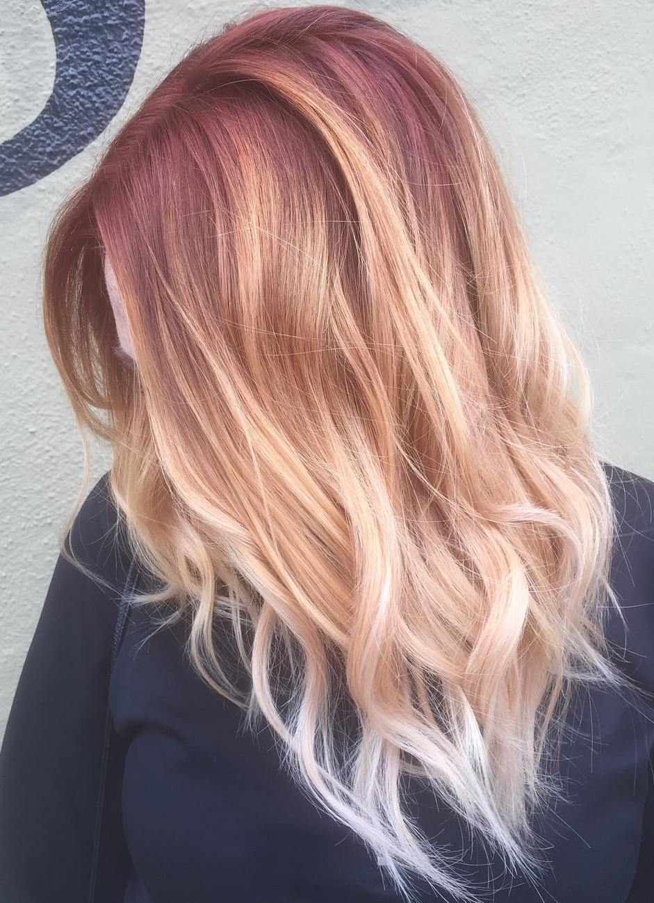 Strawberry Blonde Hair With Purple Highlights Best Image Of Blonde