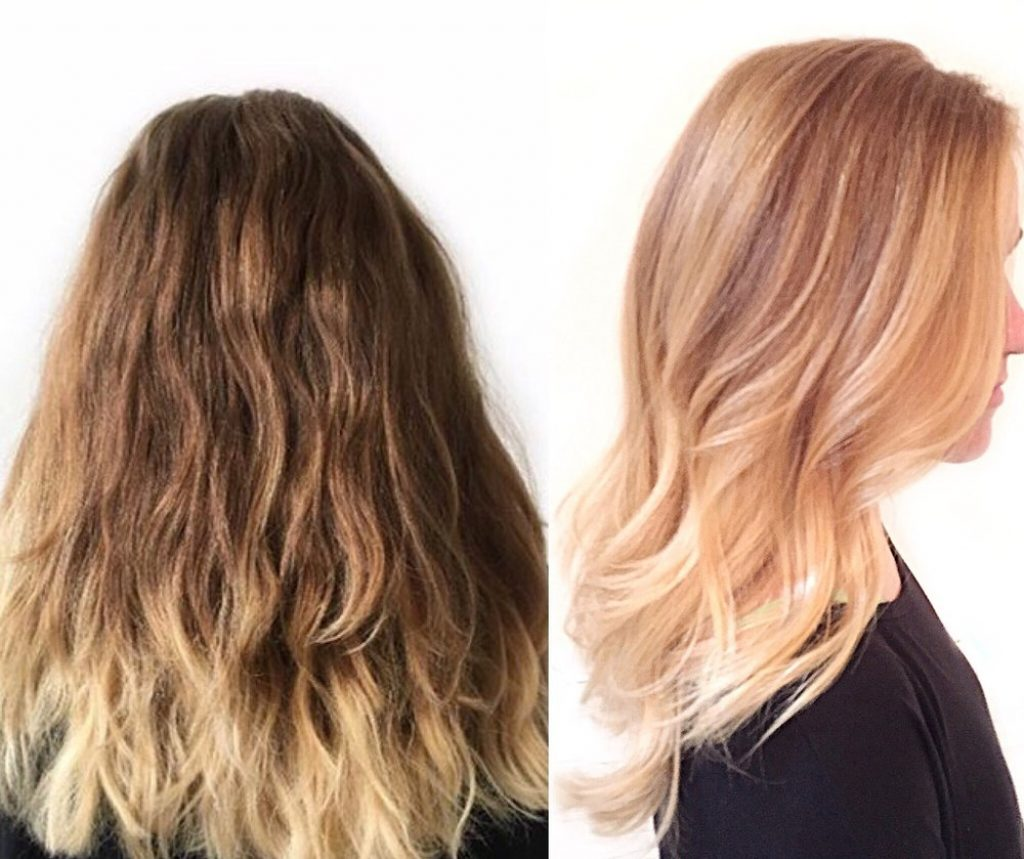 blonde hair with strawberry blonde ombre