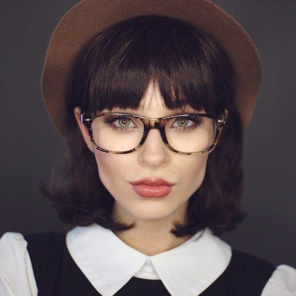 Hairstyles With Bangs And Glasses on broad shoulder length