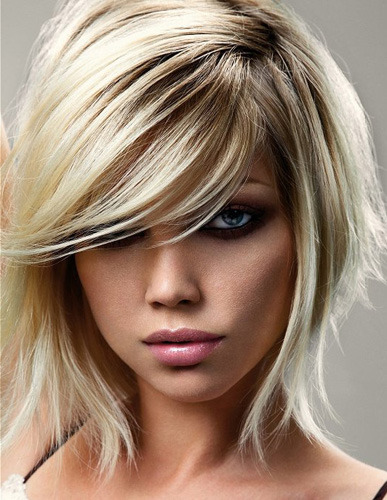 hairstyles for square faces with bangs photo - 6